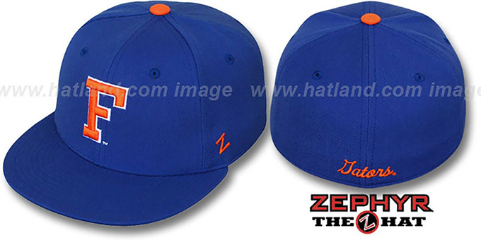 Florida 'SLIDER' Royal Fitted Hat by Zephyr : pictured without stickers that these products are shipped with