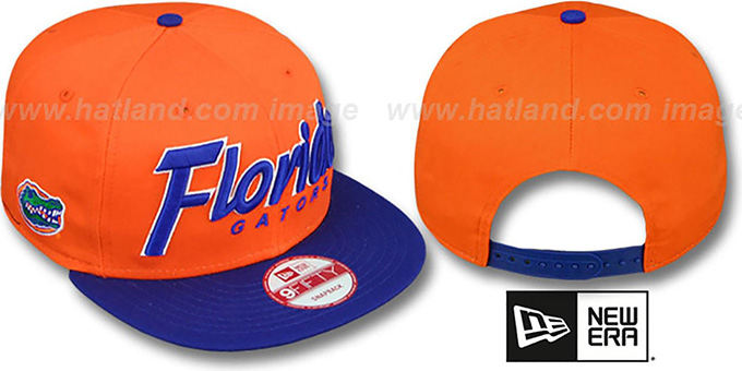 Florida 'SNAP-IT-BACK SNAPBACK' Orange-Royal Hat by New Era : pictured without stickers that these products are shipped with