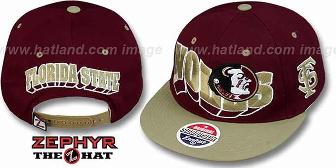 Florida State '2T FLASHBACK SNAPBACK' Burgundy-Gold Hat by Zephyr : pictured without stickers that these products are shipped with