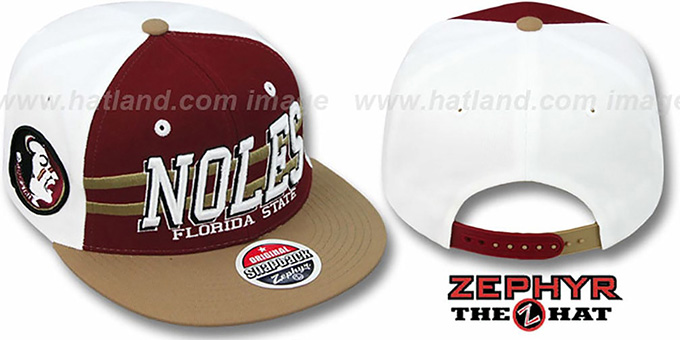 Florida State '2T SUPERSONIC SNAPBACK' Burgundy-Gold Hat by Zephyr : pictured without stickers that these products are shipped with