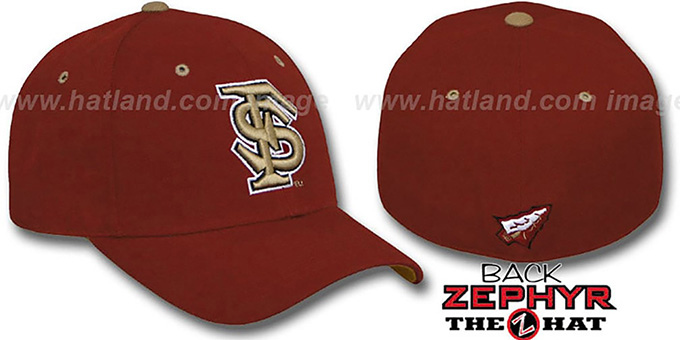 Florida State 'DH' Burgundy Fitted Hat by Zephyr : pictured without stickers that these products are shipped with