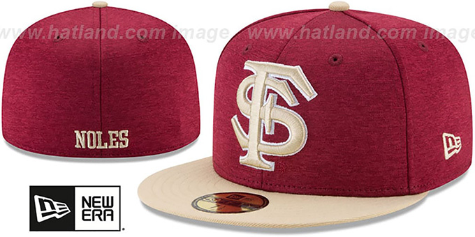 Florida State 'HEATHER-HUGE' Burgundy-Gold Fitted Hat by New Era : pictured without stickers that these products are shipped with