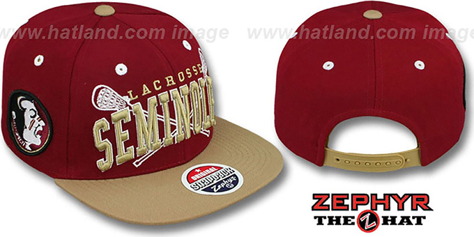 Florida State 'LACROSSE SUPER-ARCH SNAPBACK' Burgundy-Gold Hat by Zephyr : pictured without stickers that these products are shipped with