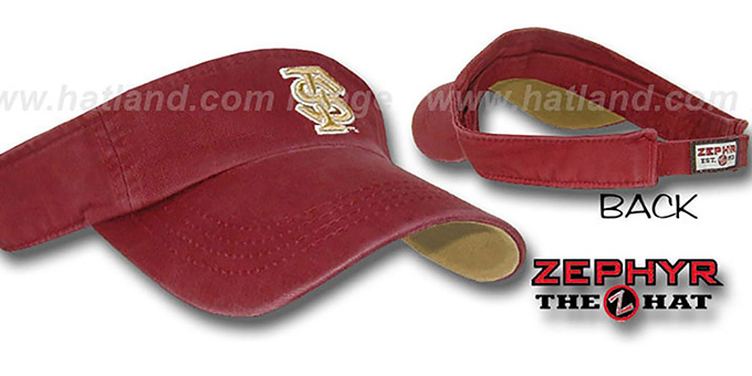 Florida State 'SLIDE' Visor by Zephyr - burgundy : pictured without stickers that these products are shipped with