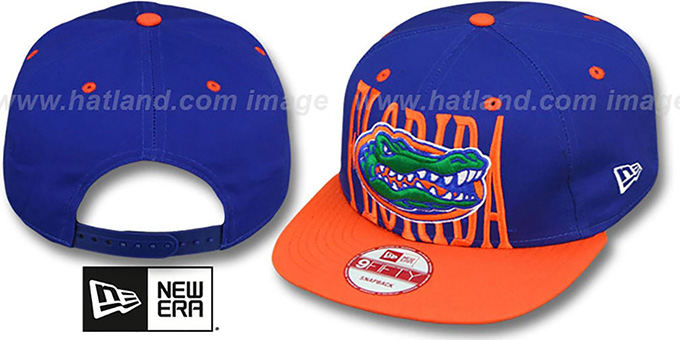 Florida 'STEP-ABOVE SNAPBACK' Royal-Orange Hat by New Era : pictured without stickers that these products are shipped with