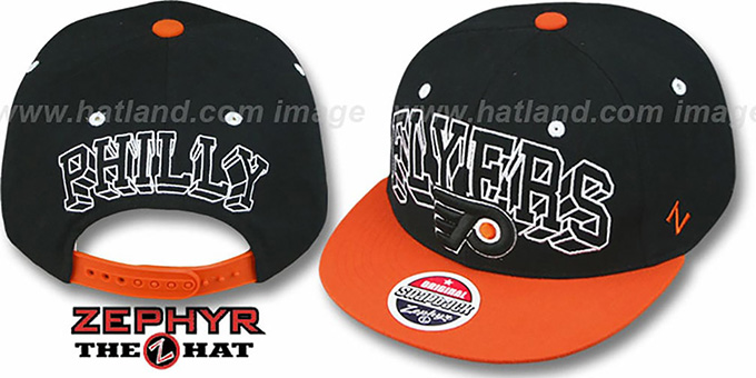 Flyers '2T BLOCKBUSTER SNAPBACK' Black-Orange Hat by Zephyr : pictured without stickers that these products are shipped with