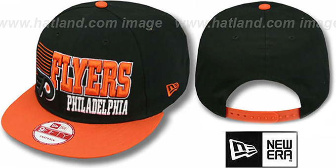 Flyers '2T BORDERLINE SNAPBACK' Black-Orange Hat by New Era : pictured without stickers that these products are shipped with
