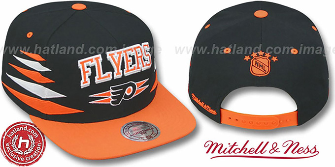 Flyers '2T DIAMONDS SNAPBACK' Black-Orange Adjustable Hat by Mitchell & Ness : pictured without stickers that these products are shipped with