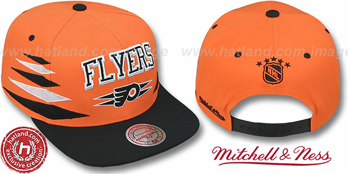 Flyers '2T DIAMONDS SNAPBACK' Orange-Black Adjustable Hat by Mitchell & Ness : pictured without stickers that these products are shipped with