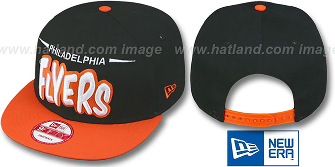 Flyers '2T DOPETASTIC SNAPBACK' Black-Orange Hat by New Era : pictured without stickers that these products are shipped with