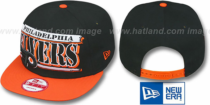 Flyers '2T STILL BREAKIN SNAPBACK' Black-Orange Hat by New Era : pictured without stickers that these products are shipped with