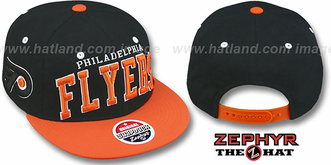 Flyers '2T SUPER-ARCH SNAPBACK' Black-Orange Hat by Zephyr : pictured without stickers that these products are shipped with