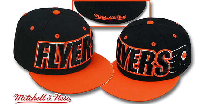 Flyers '2T WORDMARK' Black-Orange Fitted Hat by Mitchell & Ness : pictured without stickers that these products are shipped with