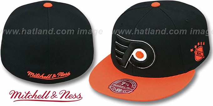 Flyers '2T XL-LOGO' Black-Orange Fitted Hat by Mitchell & Ness : pictured without stickers that these products are shipped with