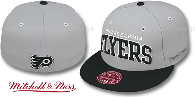 Flyers '2T XL-WORDMARK' Grey-Black Fitted Hat by Mitchell & Ness : pictured without stickers that these products are shipped with