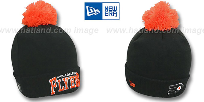 Flyers 'ARCHED-RIBBED' Black Knit Beanie Hat by New Era : pictured without stickers that these products are shipped with
