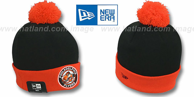 Flyers 'CIRCLE' Black-Orange Knit Beanie Hat by New Era : pictured without stickers that these products are shipped with