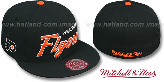 Flyers 'CLASSIC-SCRIPT' Black Fitted Hat by Mitchell & Ness : pictured without stickers that these products are shipped with