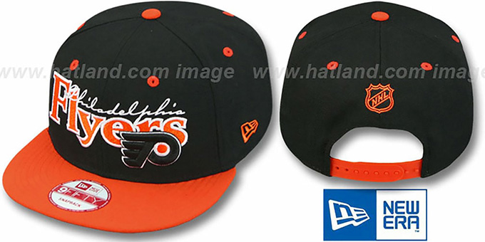 Flyers 'CLASSIC-TAG SNAPBACK' Black-Orange Adjustable Hat by New Era : pictured without stickers that these products are shipped with