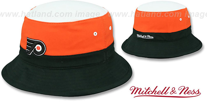 Flyers 'COLOR-BLOCK BUCKET' White-Orange-Black Hat by Mitchell and Ness : pictured without stickers that these products are shipped with