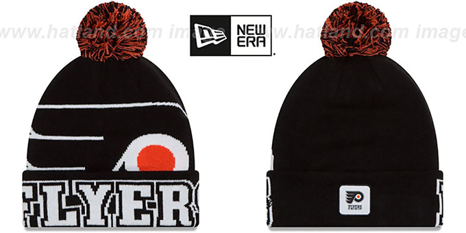 Flyers 'COLOSSAL-TEAM' Black Knit Beanie Hat by New Era : pictured without stickers that these products are shipped with
