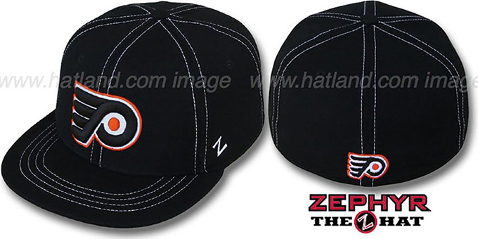 Flyers 'CONTRAST THREAT' Black Fitted Hat by Zephyr : pictured without stickers that these products are shipped with