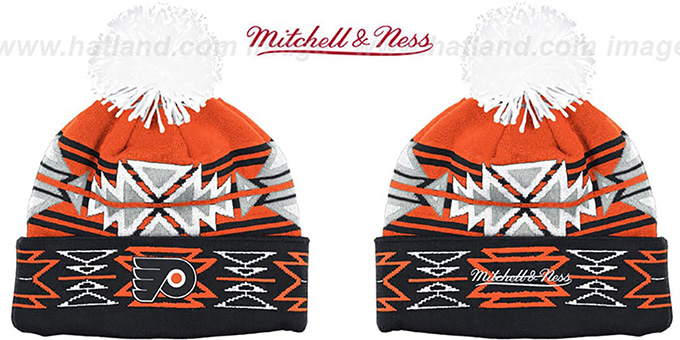 Flyers 'GEOTECH' Knit Beanie by Mitchell and Ness : pictured without stickers that these products are shipped with