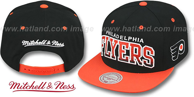 Flyers 'GRADIANT-ARCH SNAPBACK' Black-Orange Hat by Mitchell and Ness : pictured without stickers that these products are shipped with