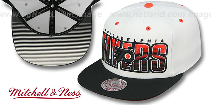 Flyers 'HOMESTAND SNAPBACK' White-Black Hat by Mitchell & Ness : pictured without stickers that these products are shipped with