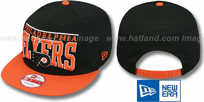 Flyers 'LE-ARCH SNAPBACK' Black-Orange Hat by New Era : pictured without stickers that these products are shipped with