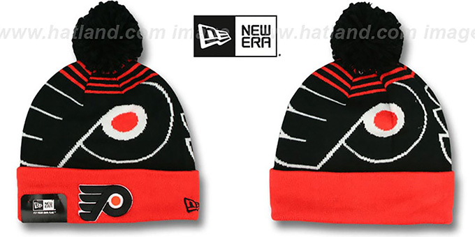 Flyers 'LOGO WHIZ' Black-Orange Knit Beanie Hat by New Era : pictured without stickers that these products are shipped with