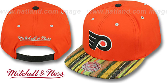 Flyers 'NATIVE-STRIPE SNAPBACK' Orange Hat by Mitchell & Ness : pictured without stickers that these products are shipped with