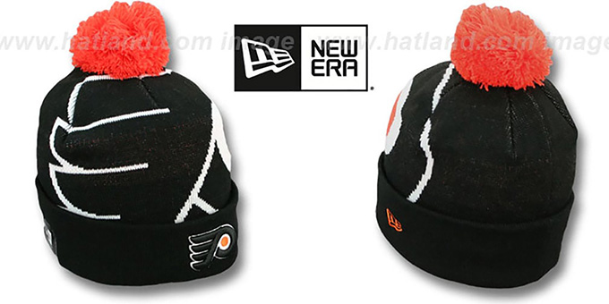 Flyers 'NHL-BIGGIE' Black Knit Beanie Hat by New Era : pictured without stickers that these products are shipped with
