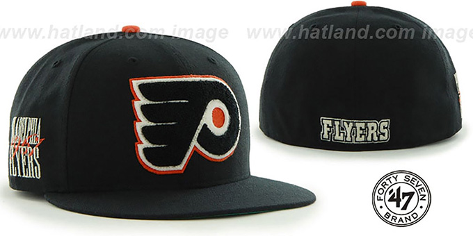 Flyers 'NHL CATERPILLAR' Black Fitted Hat by 47 Brand : pictured without stickers that these products are shipped with