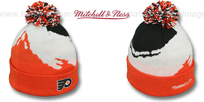 Flyers 'PAINTBRUSH BEANIE' by Mitchell and Ness : pictured without stickers that these products are shipped with