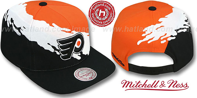 Flyers 'PAINTBRUSH SNAPBACK' Orange-White-Black Hat by Mitchell & Ness : pictured without stickers that these products are shipped with