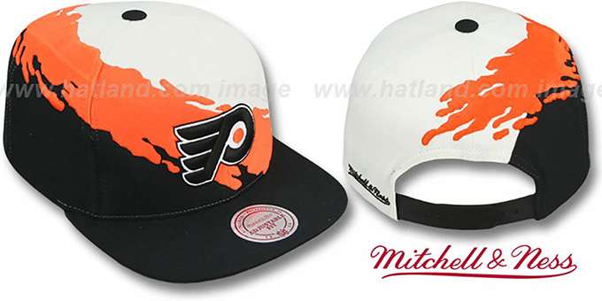 Flyers 'PAINTBRUSH SNAPBACK' White-Orange-Black Hat by Mitchell & Ness