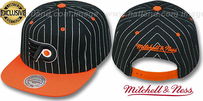 Flyers 'PINSTRIPE 2T TEAM-BASIC SNAPBACK' Black-Orange Adjustable Hat by Mitchell & Ness : pictured without stickers that these products are shipped with