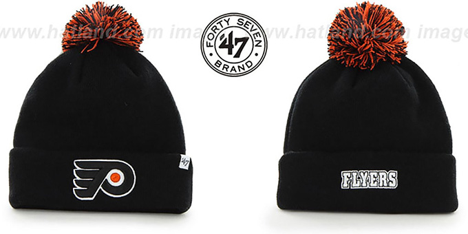 Flyers 'POMPOM CUFF' Black Knit Beanie Hat by Twins 47 Brand : pictured without stickers that these products are shipped with
