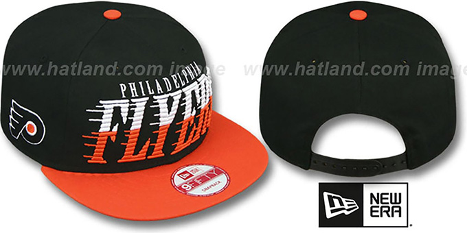 Flyers 'SAILTIP SNAPBACK' Black-Orange Hat by New Era : pictured without stickers that these products are shipped with