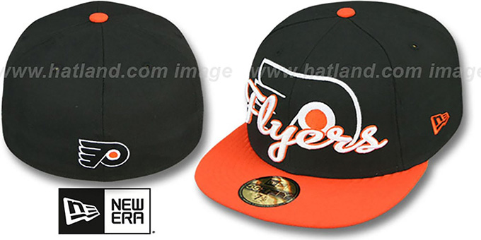 Flyers 'SCRIPT-PUNCH' Black-Orange Fitted Hat by New Era : pictured without stickers that these products are shipped with