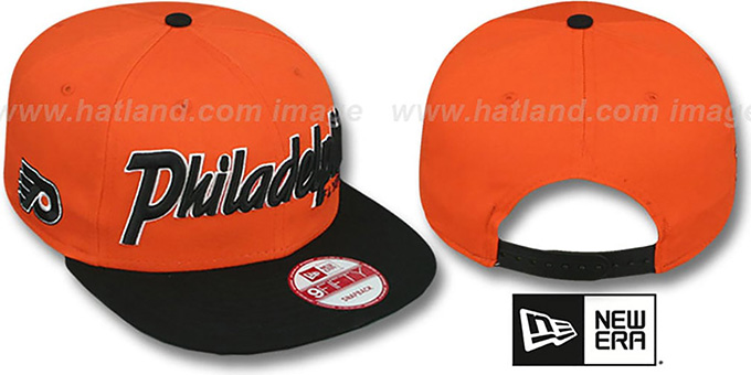 Flyers 'SNAP-IT-BACK SNAPBACK' Orange-Black Hat by New Era : pictured without stickers that these products are shipped with