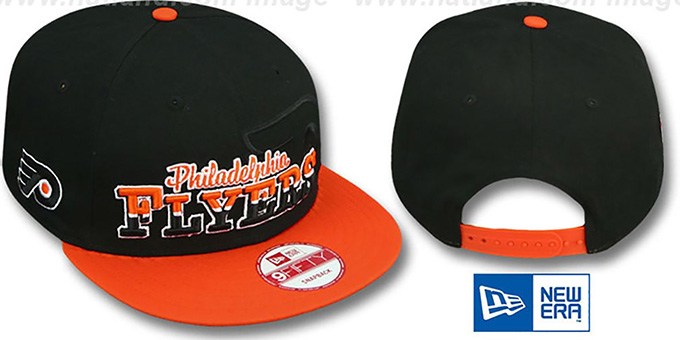 Flyers 'SPLIT-BLOCK SNAPBACK' Black-Orange Hat by New Era : pictured without stickers that these products are shipped with