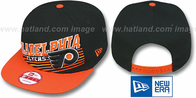 Flyers 'STILL ANGLIN SNAPBACK' Black-Orange Hat by New Era : pictured without stickers that these products are shipped with