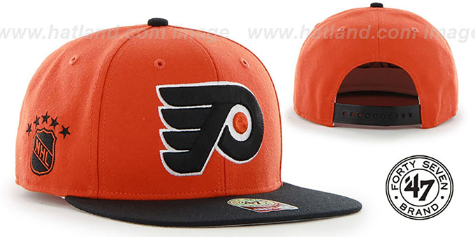 Flyers 'SURE-SHOT SNAPBACK' Orange-Black Hat by Twins 47 Brand : pictured without stickers that these products are shipped with