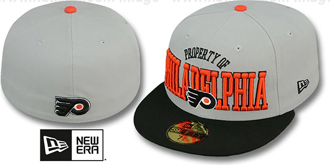 Flyers 'TEAM-PRIDE' Grey-Black Fitted Hat by New Era : pictured without stickers that these products are shipped with