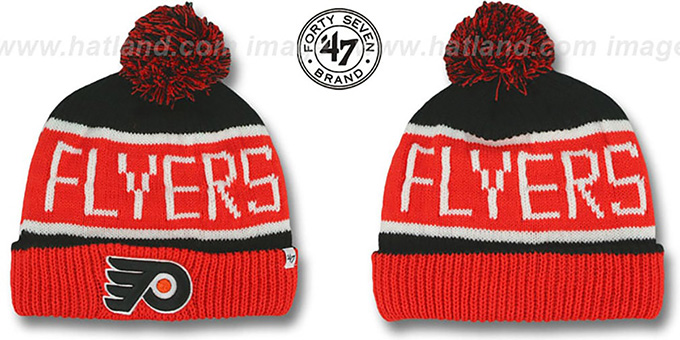 Flyers 'THE-CALGARY' Orange-Black Knit Beanie Hat by Twins 47 Brand : pictured without stickers that these products are shipped with