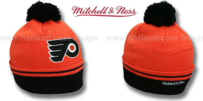 Flyers 'XL-LOGO BEANIE' Orange by Mitchell and Ness : pictured without stickers that these products are shipped with