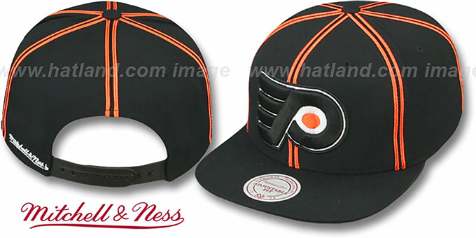 Flyers 'XL-LOGO SOUTACHE SNAPBACK' Black Adjustable Hat by Mitchell & Ness : pictured without stickers that these products are shipped with