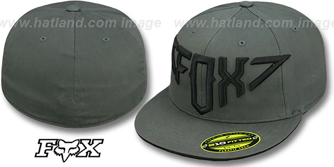 Fox 'OVER AND OUT' Dark Grey 210 Fitted Hat by FlexFit : pictured without stickers that these products are shipped with